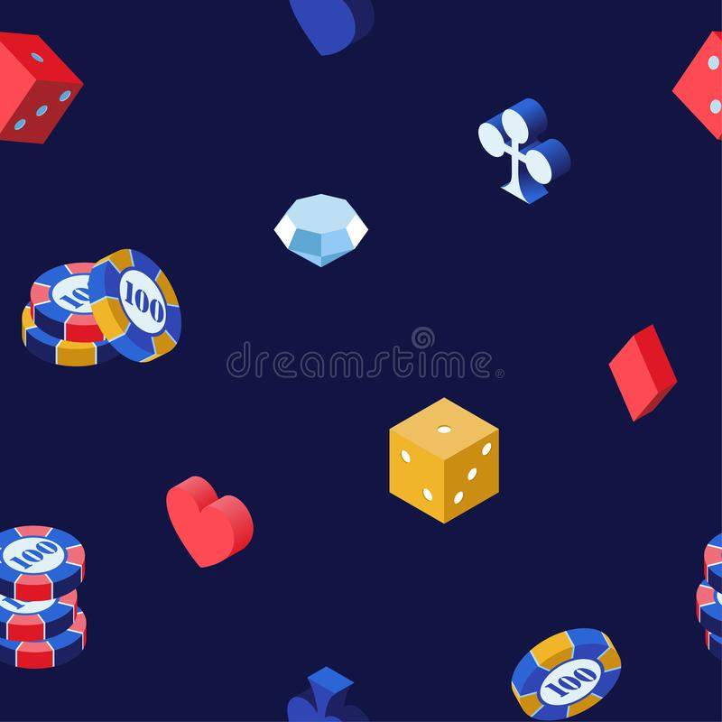 Casino games 3d vector seamless pattern. Poker chips, isometric dice and diamond on blue backdrop. Hearts, spades, clubs stock illustration