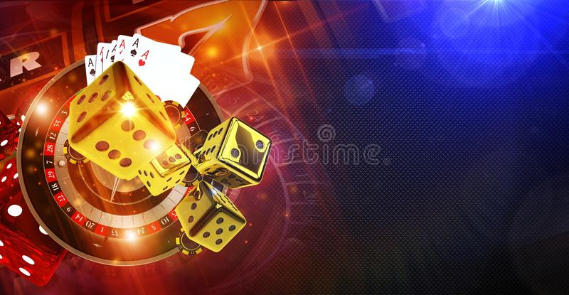 Casino Games of Fortune. Conceptual Banner Illustration 3D Rendered. Roulette Wheel, Golden Craps Dices and Other Casino Games Elements vector illustration