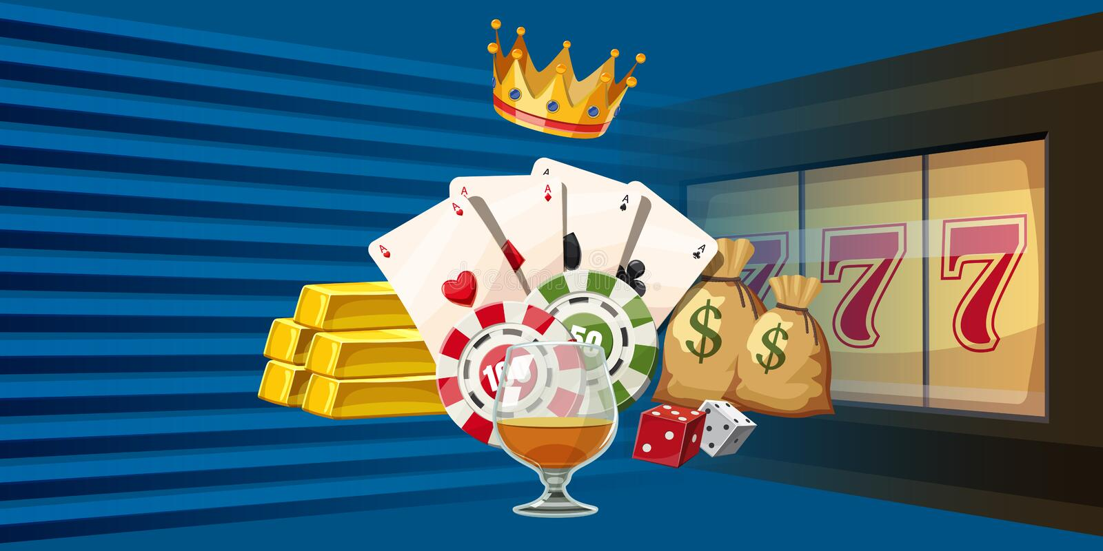 Casino games horizontal banner, cartoon style. Casino games horizontal banner concept. Cartoon illustration of casino games vector horizontal banner for web royalty free illustration