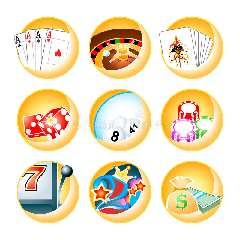Casino games icons. Icon-set for casino games: roulette, poker, blackjack, keno, slot, videopoker and cashier royalty free illustration