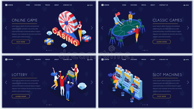 Casino games isometric landing pages set. Slot machines, lottery, classic casino entertainment website homepage. Templates pack. Online gambling and amusement stock illustration
