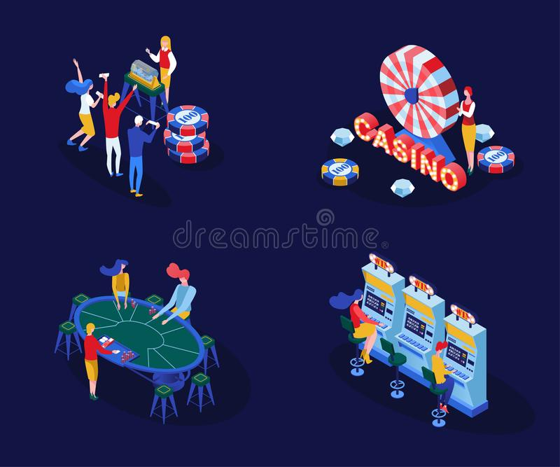 Casino games isometric vector illustrations set. Male and female gamblers playing poker, blackjack card games isolated. 3D cliparts pack. Gambling business royalty free illustration