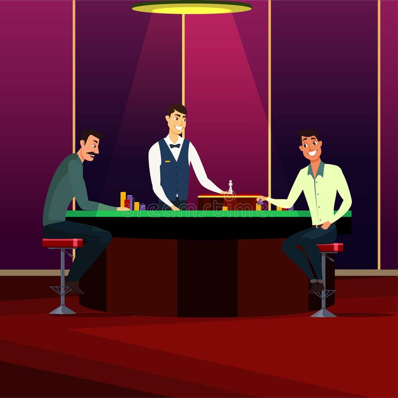 Casino, gaming house flat vector illustration isolated on dark background. Casino, gaming house flat vector illustration. Cheerful men cartoon characters. People vector illustration