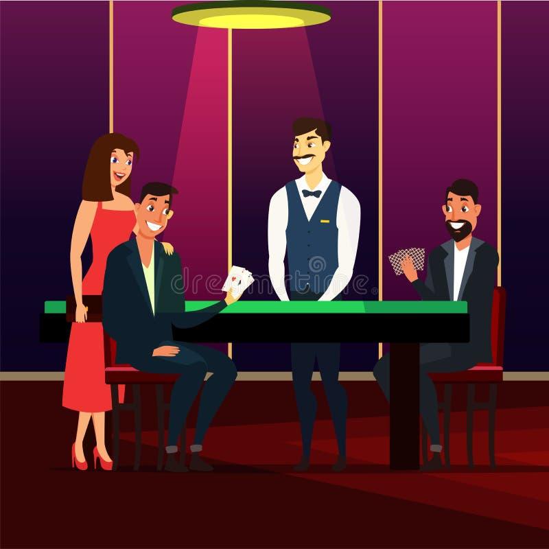 Casino, gaming house flat vector illustration isolated on dark background. Casino, gaming house flat vector illustration. Cheerful men and woman in dress cartoon vector illustration