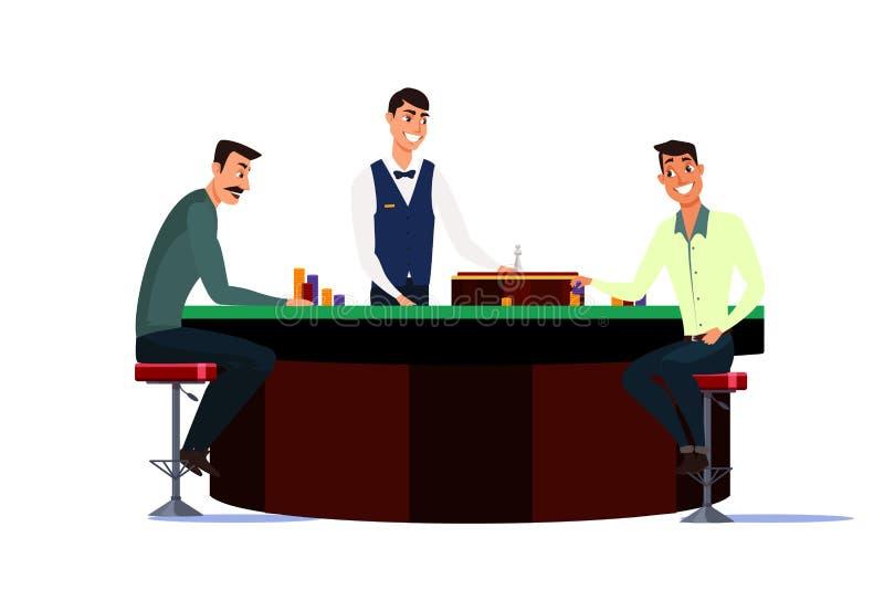 Casino, gaming house flat vector illustration isolated on white background. Casino, gaming house flat vector illustration. Cheerful men cartoon characters stock illustration