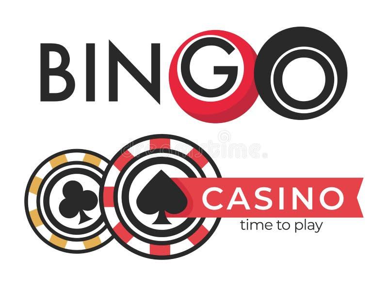 Casino geïsoleerde van pictogrammenpook en bingo het gokken spelen vector illustratie