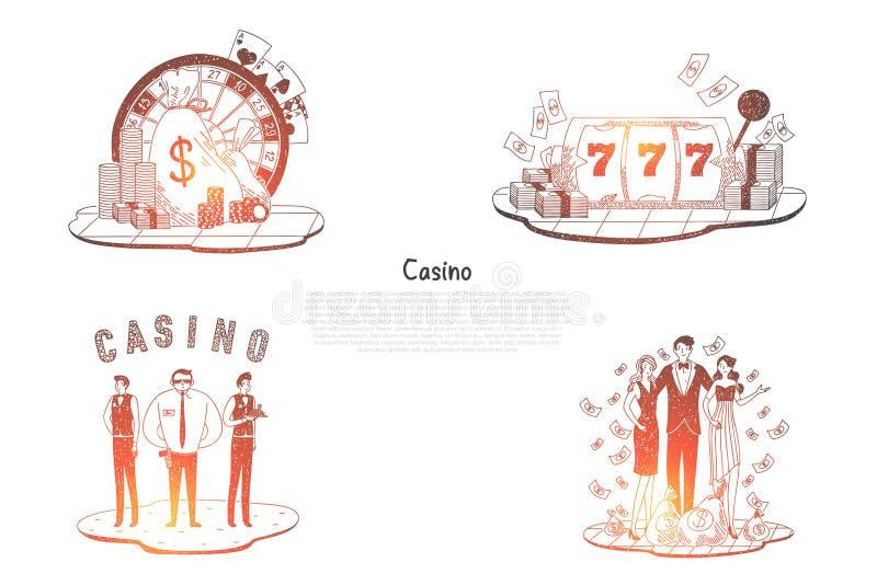 Casino - gente con el dinero, la seguridad, las tarjetas, la ruleta y los sistemas del concepto del vector de los microprocesador ilustración del vector