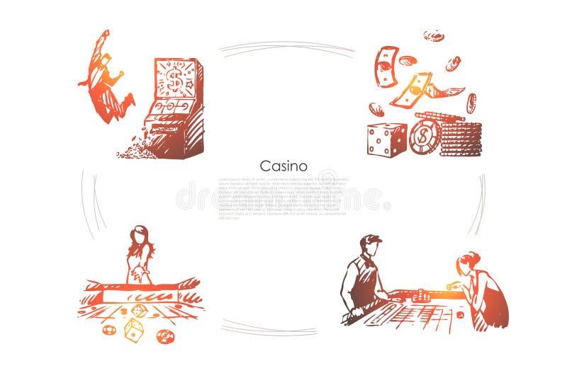Casino - gente que juega y que gana en sistema del concepto del vector del casino y del dinero libre illustration