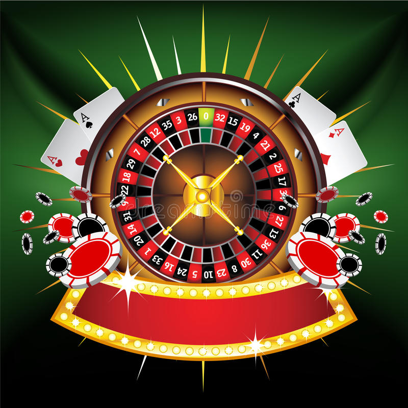 Casino gold-framed composition with roulette wheel royalty free illustration