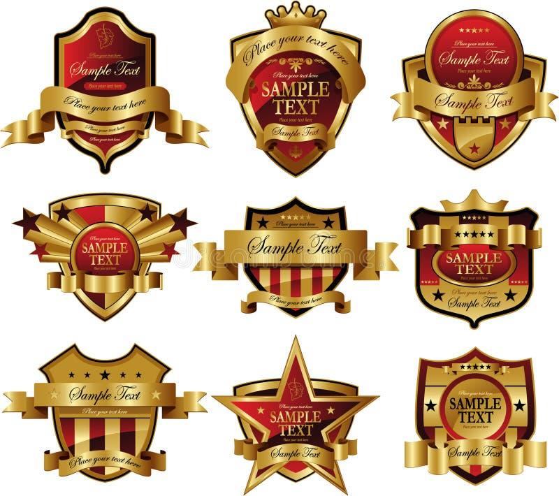 Casino Gold framed labels vector illustration