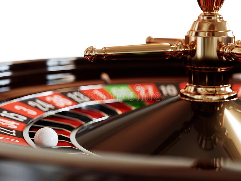 Casino gold roulette close up. Casino gold roulette stopped close up with white ball. 3d rendering illustration vector illustration