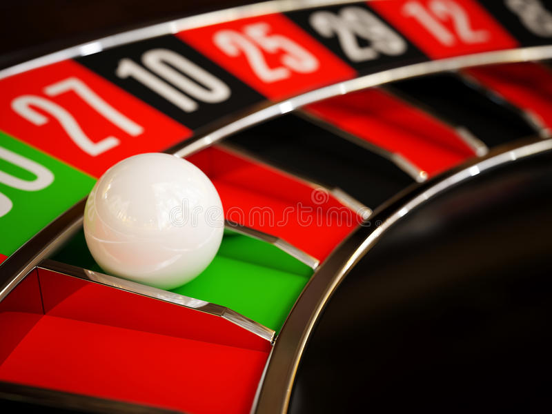 Casino gold roulette close up. Casino gold roulette stopped close up with white ball. 3d rendering illustration stock illustration