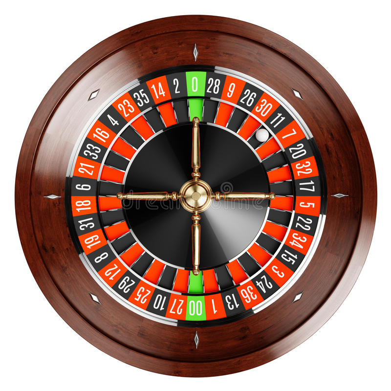 Casino gold roulette close up. Casino gold roulette stopped close up with white ball. 3d rendering illustration. Isolated on white background stock illustration
