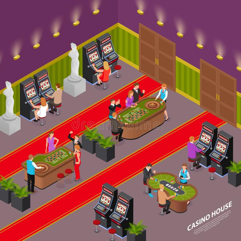 Casino House Isometric Interior. Casino house playing room interior isometric composition with slot machines poker card game roulette table vector illustration vector illustration