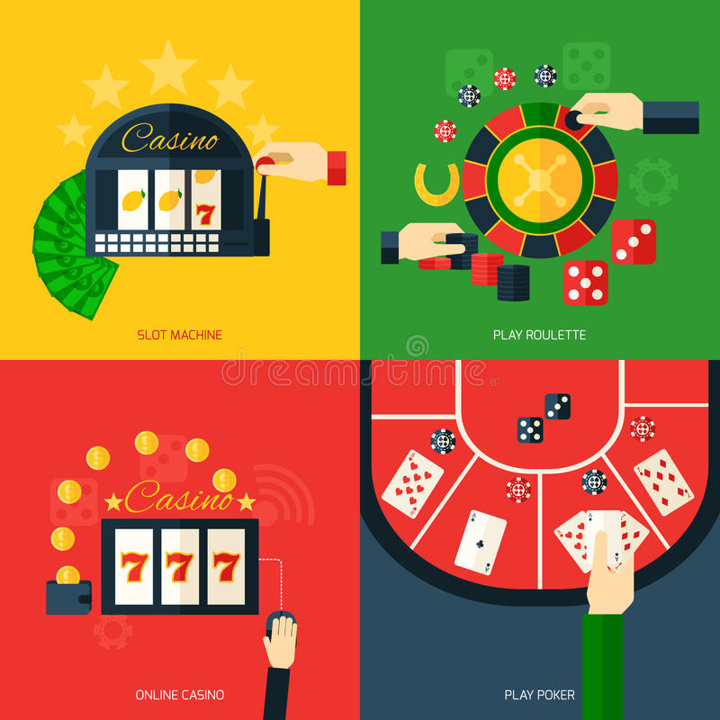 Casino Icon Flat. Casino design concept set with slot machine play roulette online poker icon flat isolated vector illustration royalty free illustration