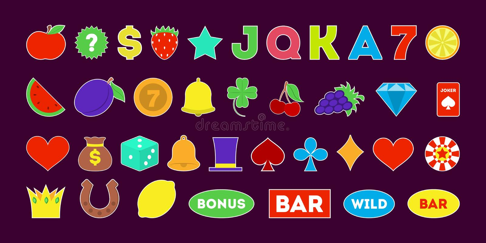 Casino icon set. Diamond and crown, bell and cherry. Isolated vector illustration in flat style vector illustration