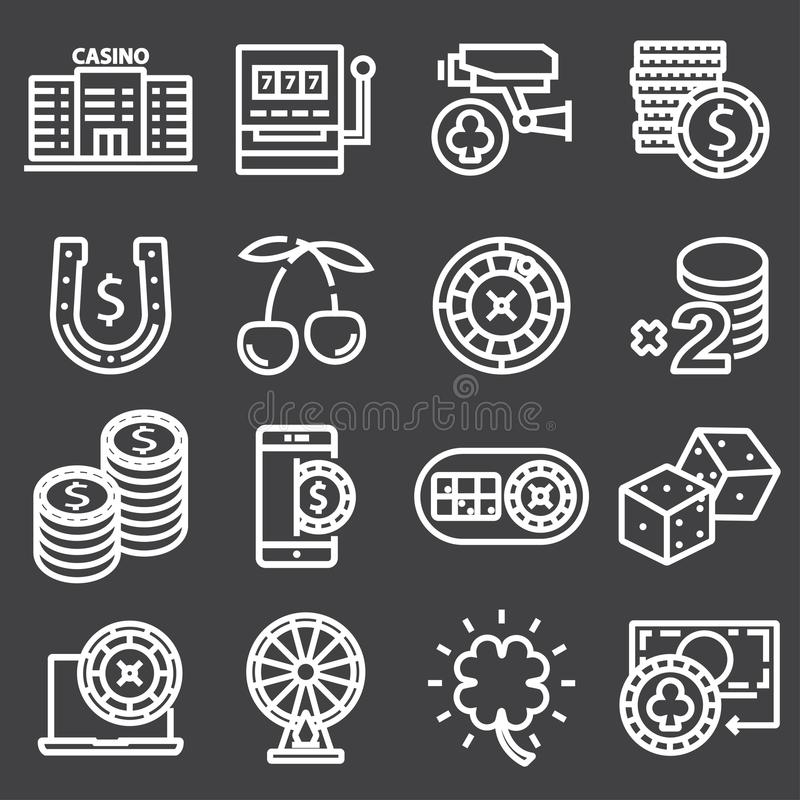 Casino icon set. Vector outline pictograms. Casino icon set. Collection of high quality outline pictograms stock illustration