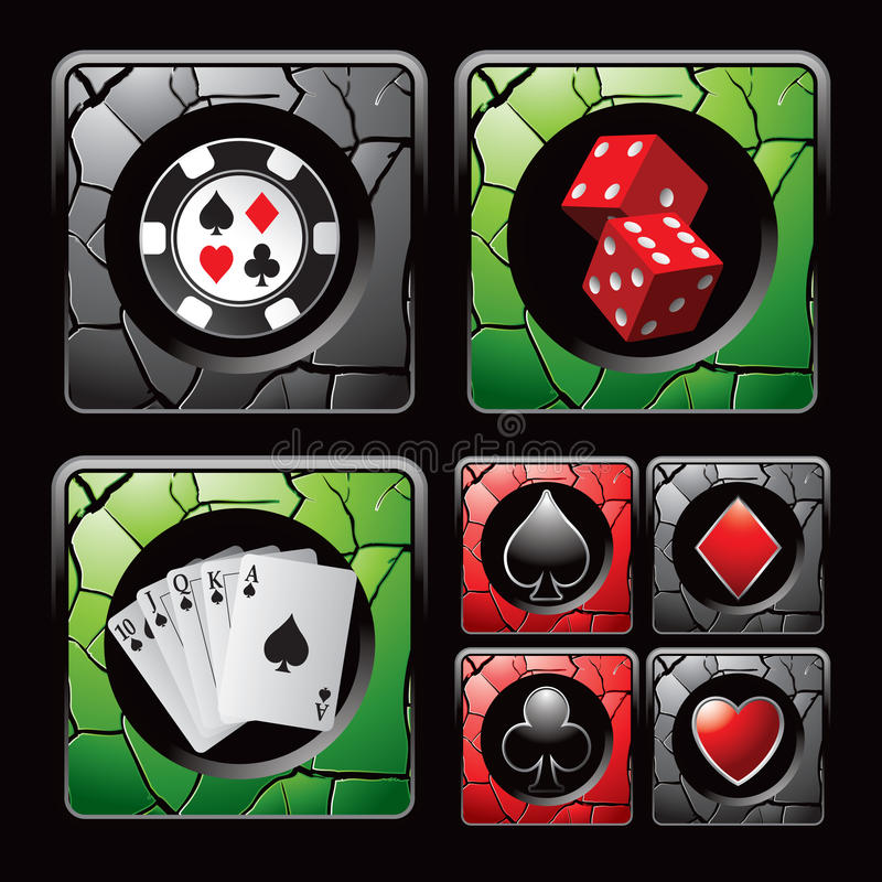 Free Casino Icons And Items On Cracked Web Buttons Royalty Free Stock Image - 20114886