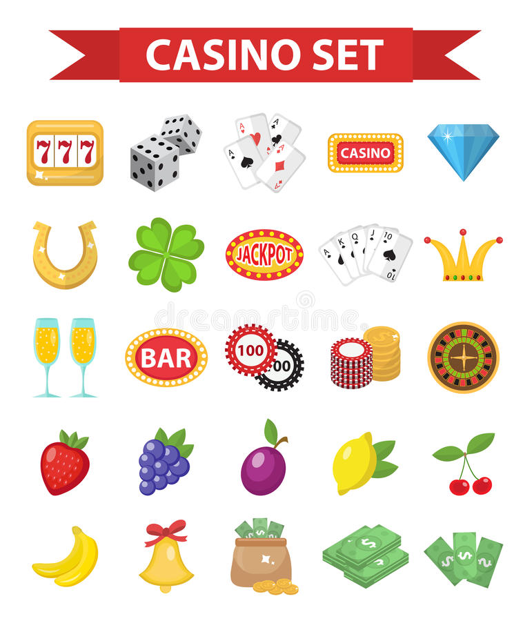 Casino icons, flat style. Gambling set isolated on a white background. Poker, card games, one-armed bandit, roulette. Collection of design elements. Vector royalty free illustration