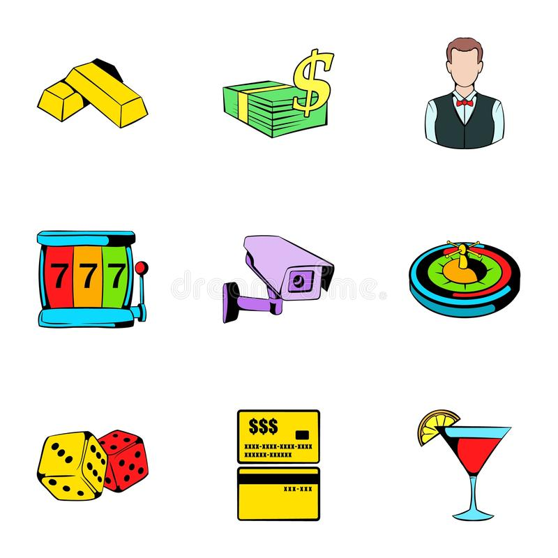 Casino icons set, cartoon style vector illustration
