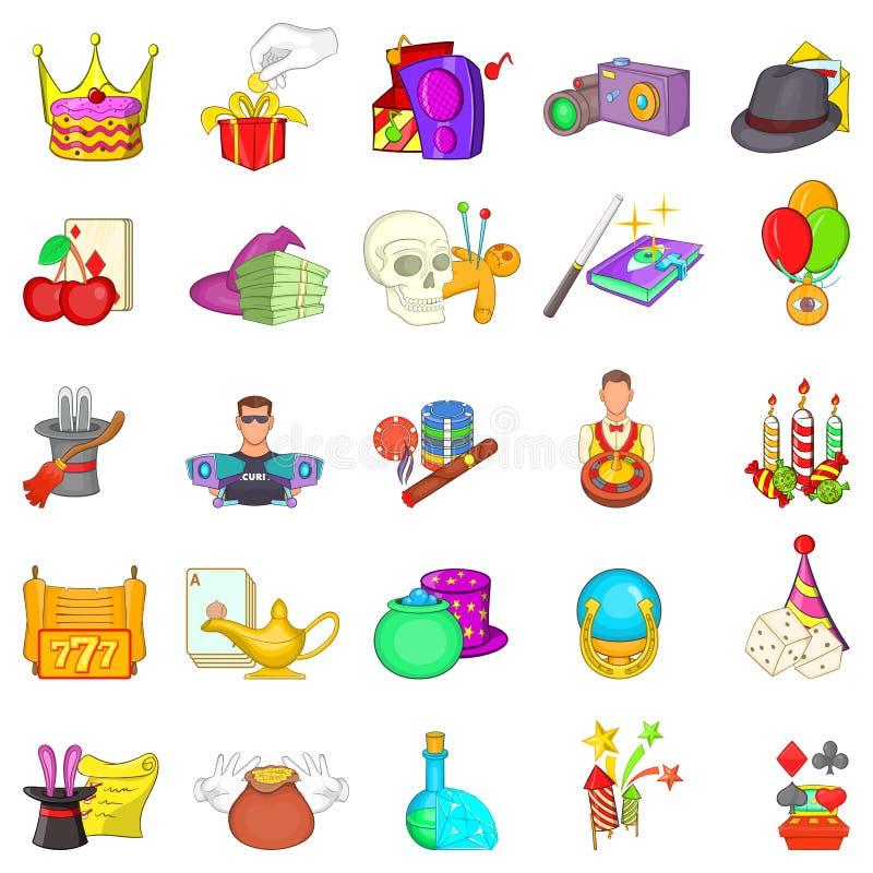 Casino icons set, cartoon style. Casino icons set. Cartoon set of 25 casino vector icons for web isolated on white background stock illustration