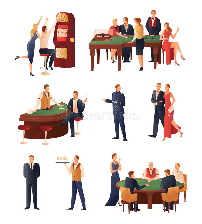 Casino Icons Set. Casino and gambling icons set with slot machine and roulette flat isolated vector illustration stock illustration