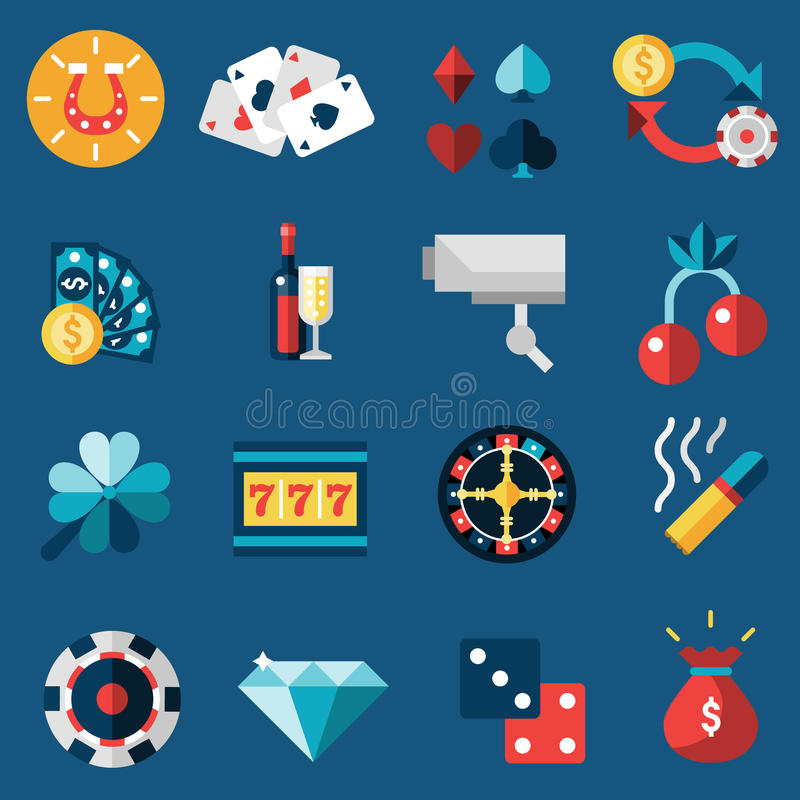 Casino Icons Set. Casino game of fortune gambling and roulette icons set isolated vector illustration royalty free illustration