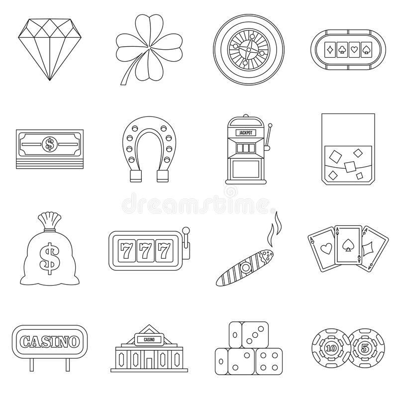 Casino icons set, outline style. Casino icons set. Outline illustration of 16 casino vector icons for web stock illustration