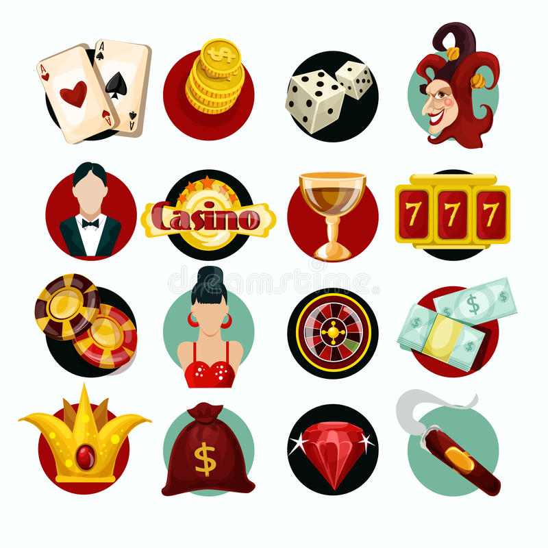 Casino Icons Set. With roulette cigar jocker slot machine isolated vector illustration vector illustration
