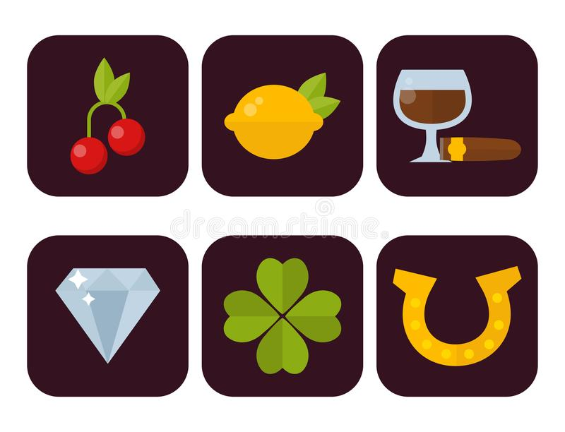 Casino icons set with roulette gambler joker slot machine poker game vector illustration. Casino game icons poker gambler symbols and casino blackjack cards vector illustration
