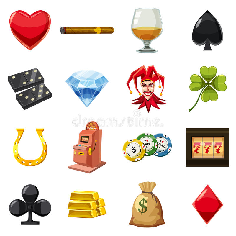 Casino icons set symbols, cartoon style royalty free illustration