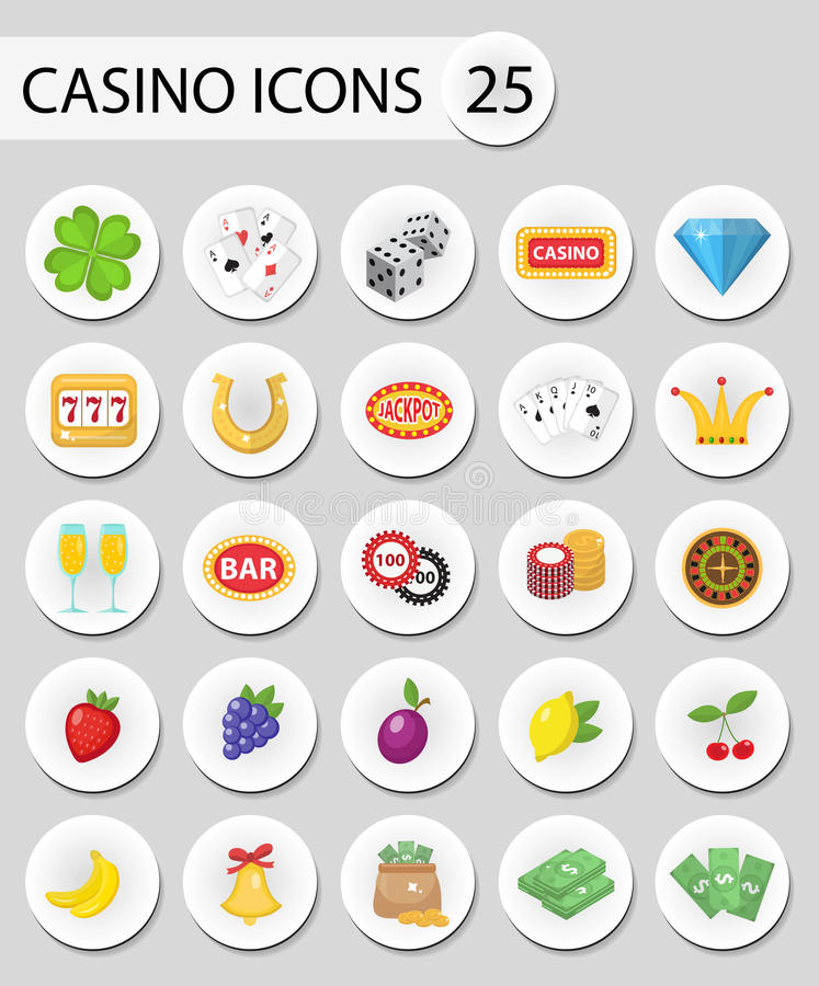 Casino icons stickers, flat style. Gambling set on a white background. Poker, card games, one-armed bandit vector illustration