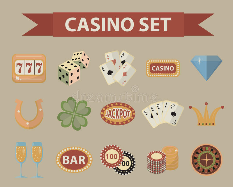 Casino icons, vintage style. Gambling set on a white background. Poker, card games, one-armed bandit, roulette. Collection of design elements. Vector royalty free illustration