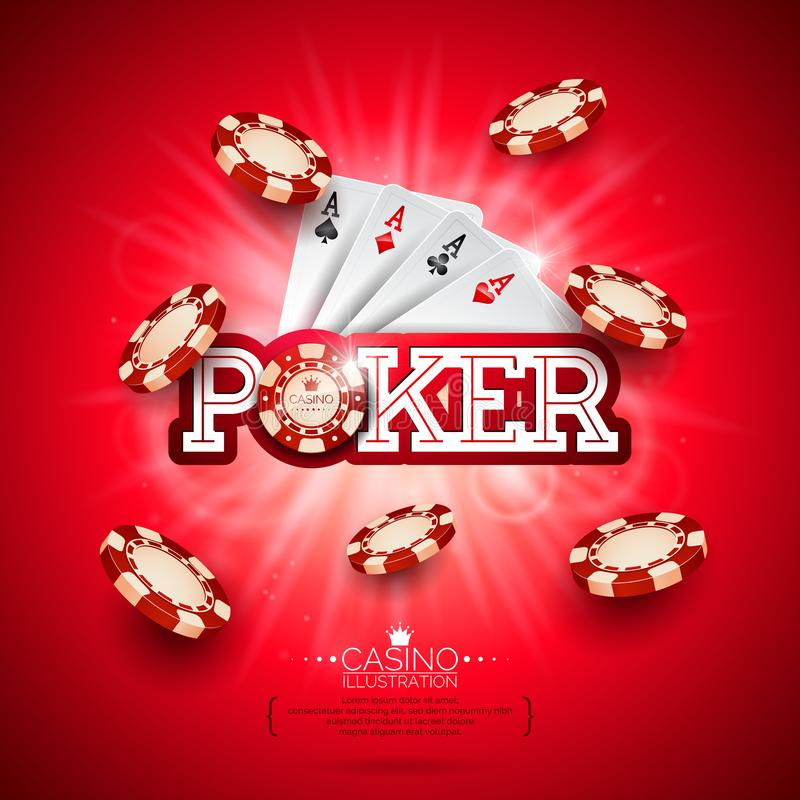 Casino Illustration with poker card and playing chips on red background. Vector gambling design for invitation or promo. Banner royalty free illustration