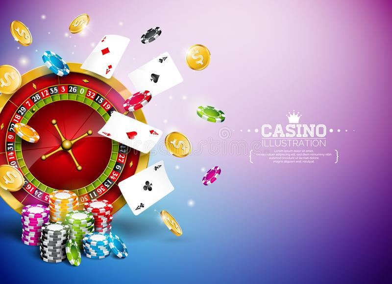 Casino Illustration with roulette wheel, falling gold coins and playing chips on blue background. Vector gambling design. With poker cards and dices for party stock illustration