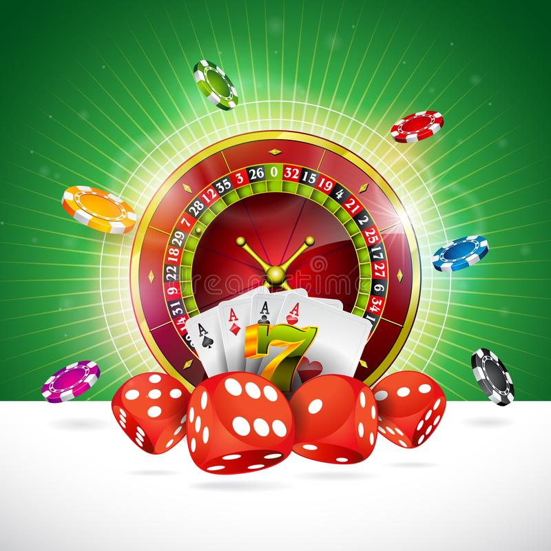 Casino Illustration with roulette wheel and playing chips on green background. Vector gambling design for invitation or. Promo banner with dice vector illustration