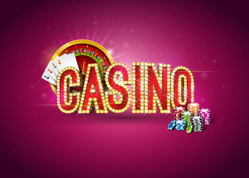 Casino illustration with roulette wheel, poker cards, playing chips and lighting signboard on red background. Gambling royalty free illustration