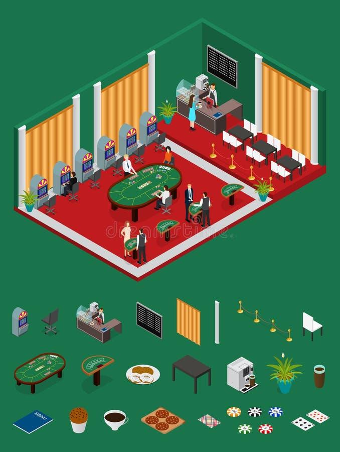 Casino interior e opinião isométrica das peças Vetor ilustração do vetor