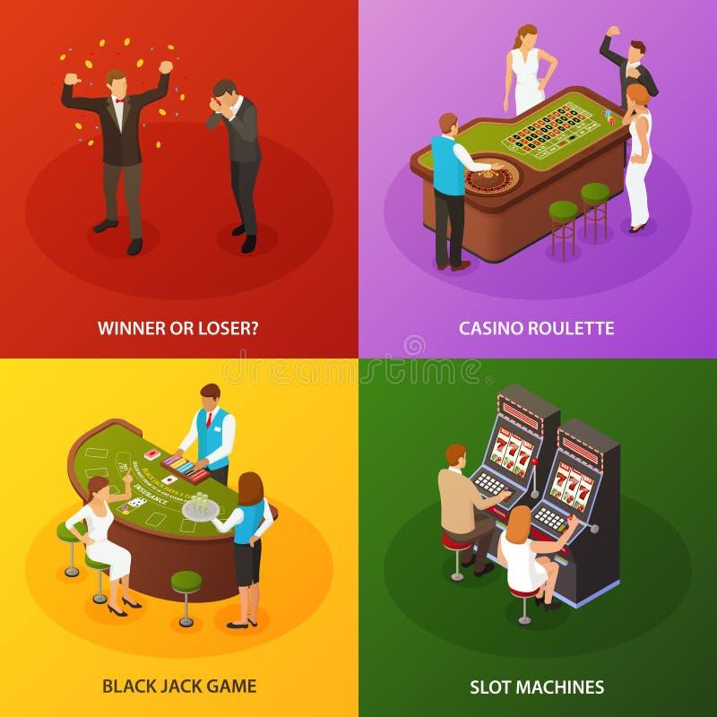 Casino Isometric Concept Design. Casino slot machines roulette black jack game 4 colorful background isometric icons concept set isometric vector illustration stock illustration