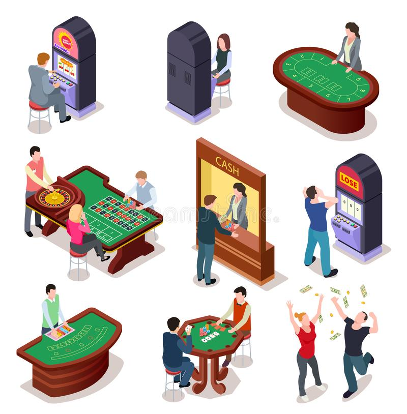 Casino isometric. Poker roulette table, slot machines in playing room. Nightclub entertainment casino gambling 3d vector royalty free illustration
