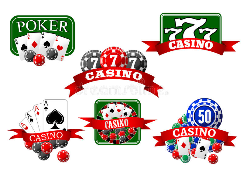 Casino, jackpot and poker gambling icons. Casino, jackpot and poker game icons with cards, gambling chips, roulette wheel and lucky triple seven symbols royalty free illustration