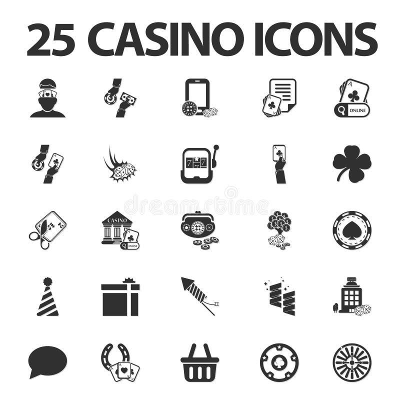 Casino, jogando 25 ícones simples pretos ajustados para a Web ilustração do vetor