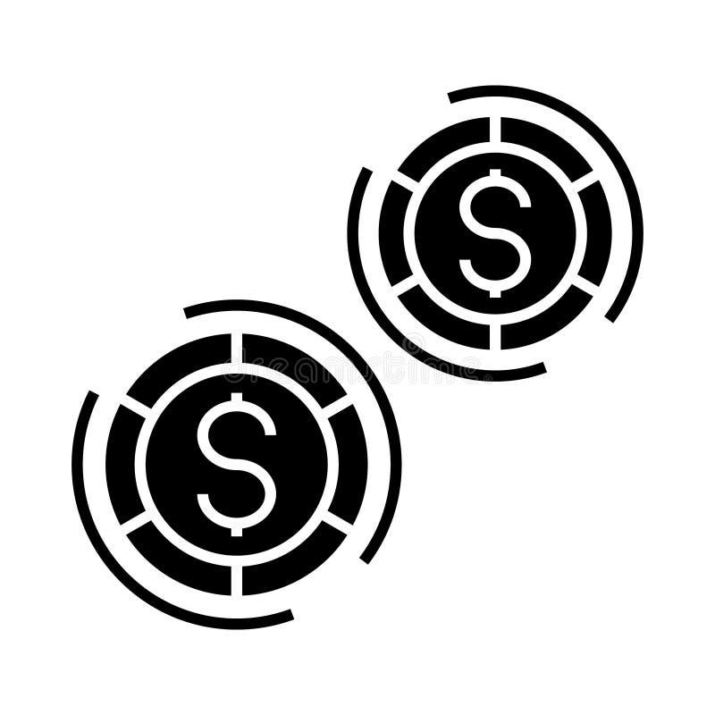 Casino - jogos de mesa ícone, ilustração do vetor, sinal preto no fundo isolado ilustração do vetor