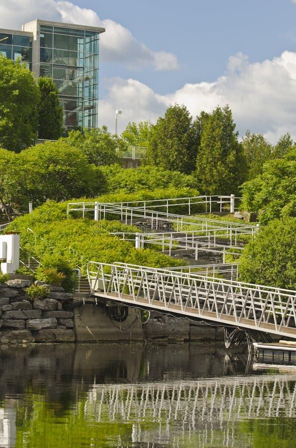 Casino Lac-Leamy Gatineau, Quebec, Canada. Casino ramps to boat docks on Lake Leamy, Gatineau, Quebec, Canada on a sunny day stock image
