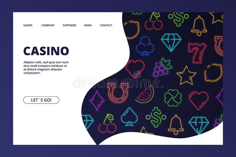 Casino landing page. Vector gambling web banner with neon icons stock illustration