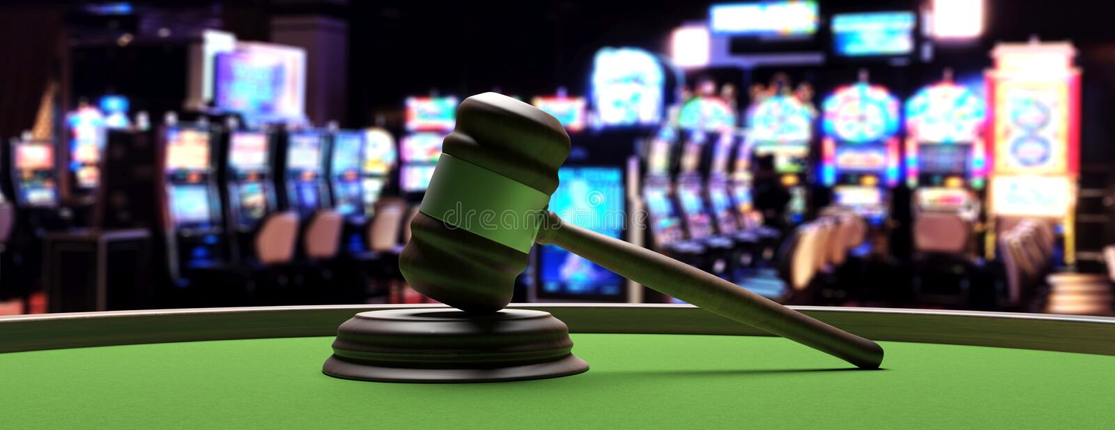 Judge gavel on roulette table, blur background. 3d illustration royalty free illustration