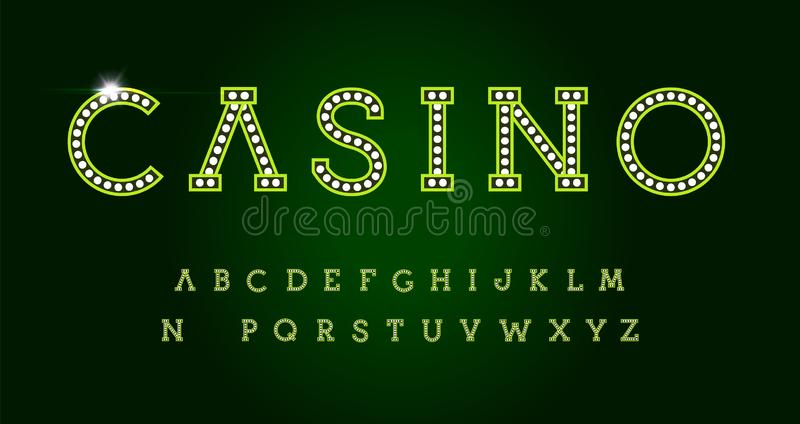 Casino letters set on green background. Green luxury style vector latin alphabet. Font for events, web business royalty free illustration