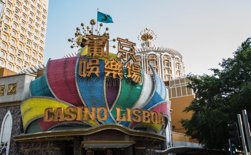 Casino Lisboa em macau Macau possui o rendimento de jogo o maior do mundo e a indústria de jogo é a renda principal do governo imagens de stock royalty free