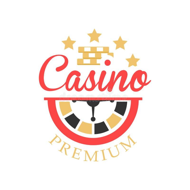 Casino logo, colorful vintage gambling badge or emblem with roulette sign vector Illustration. On a white background vector illustration