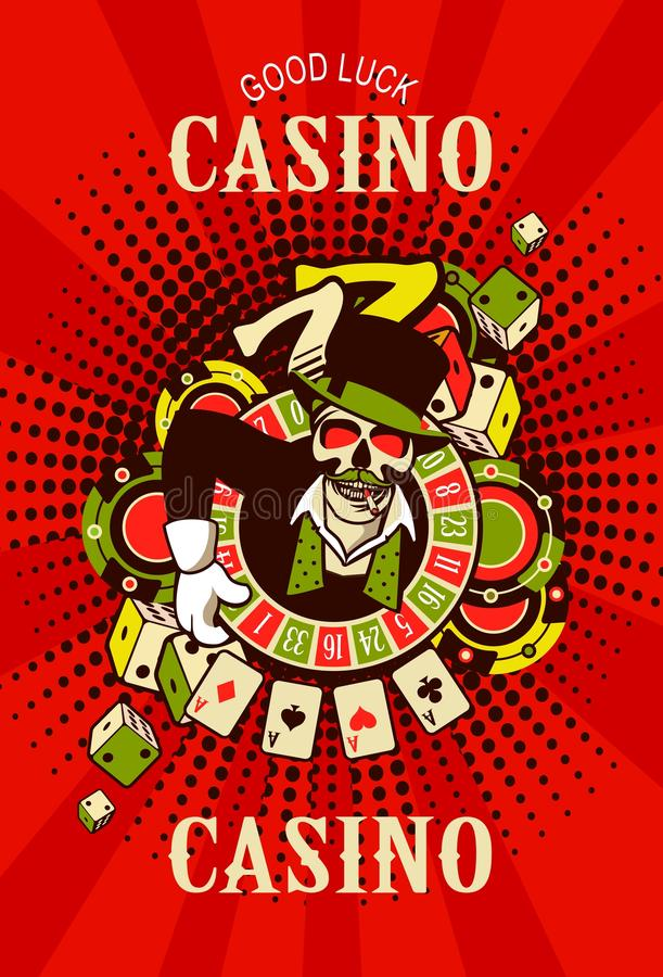 Casino logo on a white background. Vector emblem azarntny player, the spirit of good luck in the background poboedy attributes and good luck in the casino win royalty free illustration